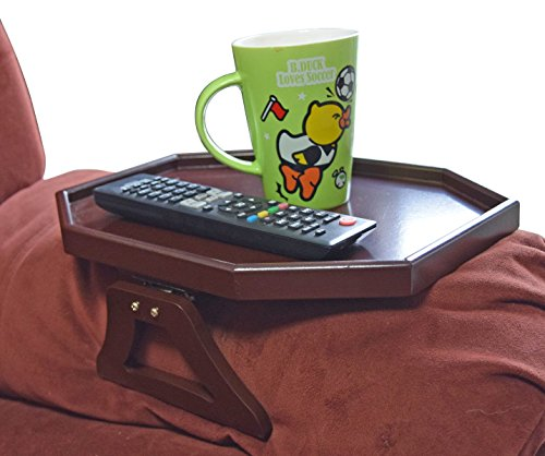 Utrax Wooden Sofa Arm Clip on Snack Table Wood Chair Armrest Tray Organizer Romote Caddy (Cherry) by UTRAX