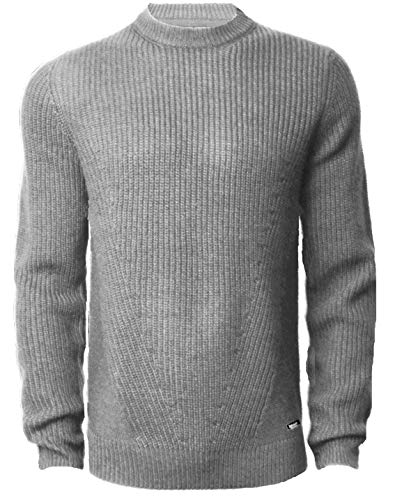 (Threadbare Mens Crew Neck Textured Sweater Top Pullover Cable Wool Blend Aspen,Grey Marl L)