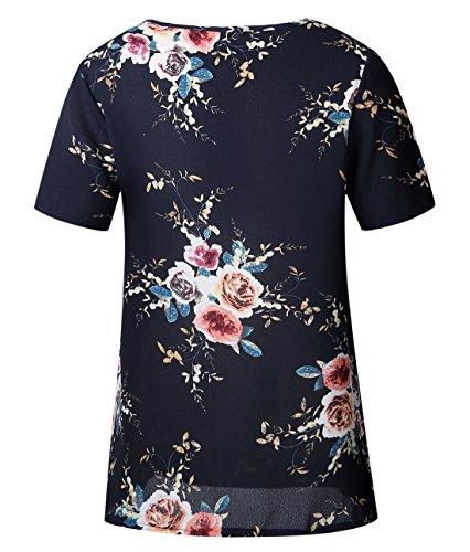 Tops Imprim Bleu Femmes Chemisiers Courtes Rond t Casual Haut Fonc Lache Fashion Col Blouses Shirts Manches T Chemisier New wTRwqIdxX