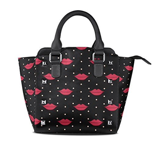 Bags Handbags Women's PU Lips Handle Top Red TIZORAX Leather Shoulder aBq1zwvvxF