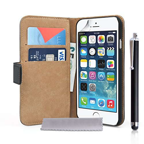 Caseflex iPhone 6 Tasche Schwarz Echt Leder Brieftasche Hülle Mit Griffel Stift