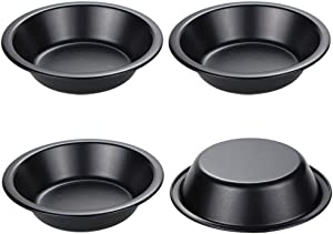 Webake Mini Pie Pans 5 Inch Pie Tins, 4 Pack Nonstick Round Bread and Meat Bakeware for Oven and Instant Pot Baking - Black