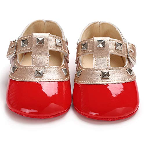 Styles I Love Infant Baby Girl Princess Rivet Studded T-Strap Soft Sole Anti-Silp Crib Shoes Prewalker 0-18M, 4 Colors (0-6 Months, Red) - Rivet Style