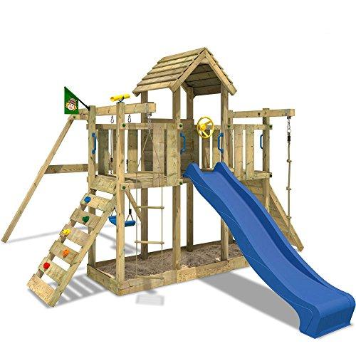 WICKEY Spielturm Little Robin Kletterturm mit Schaukel und Rutsche BLAU