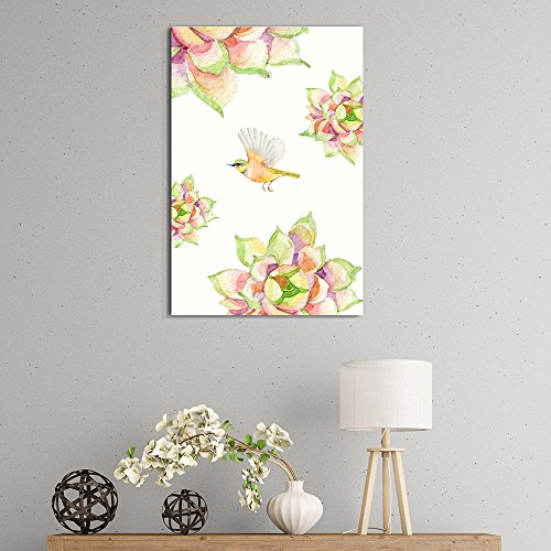Succulent Plants Series Watercolor Succulents Plants with a Bird on White Background