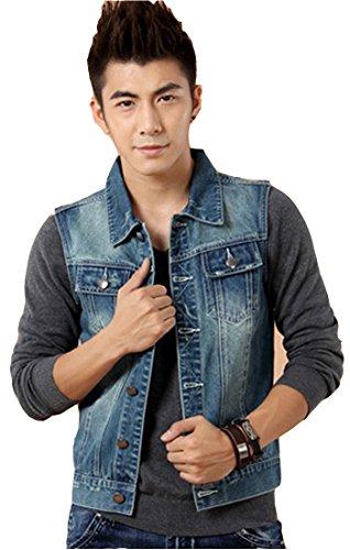 Easy Fashion Men Slim Denim Motorcycle Jean Jacket Denim Vest Sleeveless Jacket