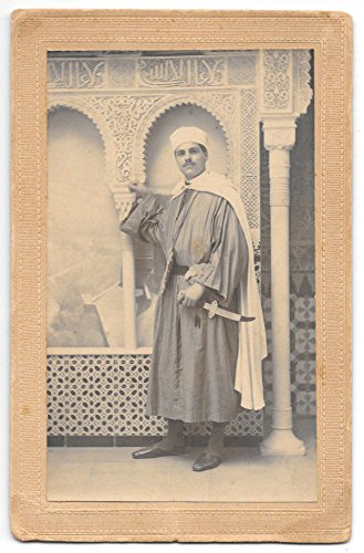 Mounted Photograph/Postcard Arab Man with a Dagger in a Photo Studio~103520