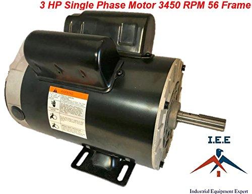 3 HP 3450 RPM Single Phase 56 Frame 230V 15 Amp 5/8'' Shaft NEMA Compressor motor by I.E.E