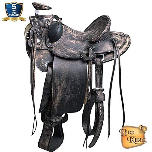 16'' HILASON Big King Western Wade Ranch Roping Cowboy Horse Saddle Black