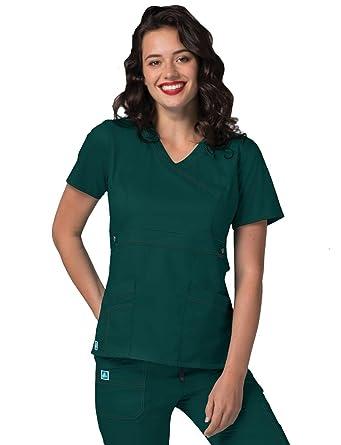 2aec92c36f9 ADAR UNIFORMS Medical Uniforms Women's Pop-Stretch Crossover Scrub Top  Hospital Workwear: Amazon.co.uk: Clothing