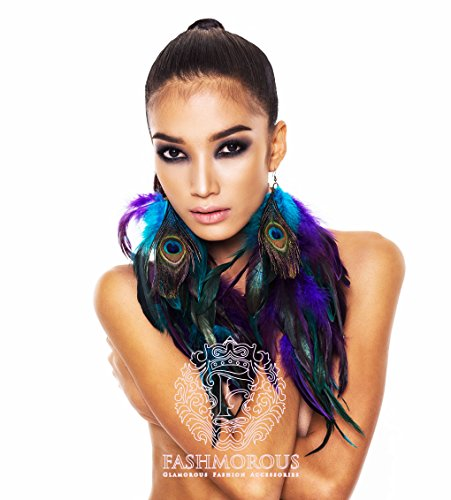 Cool Jew Fashmorous Peacock Feather Earrings Long Feather Earrings for Women Feather Earrings Purple