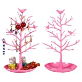 Jewelry Organizer, Bracelet Necklace Earrings and Accessories Hanging Display Tree Rack Ring Nail polish Lipstick Tray Holder Tower for Home Use or Jewelry Store Displays (Pink)