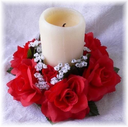 - Artificial Garden Roses Candle Ring RED Wedding Centerpieces Silk Flower Floral Arrangements Flowers