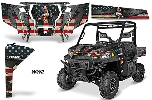 AMRRACING Polaris Ranger 900 570 2016 Full Custom UTV Graphics Decal Kit - WW2 ()