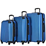 Resena Vertical Stripes 3 Pieces Luggage Sets with Spinner Wheels Lightweight Carry On Suitcase Bags (Light Blue)