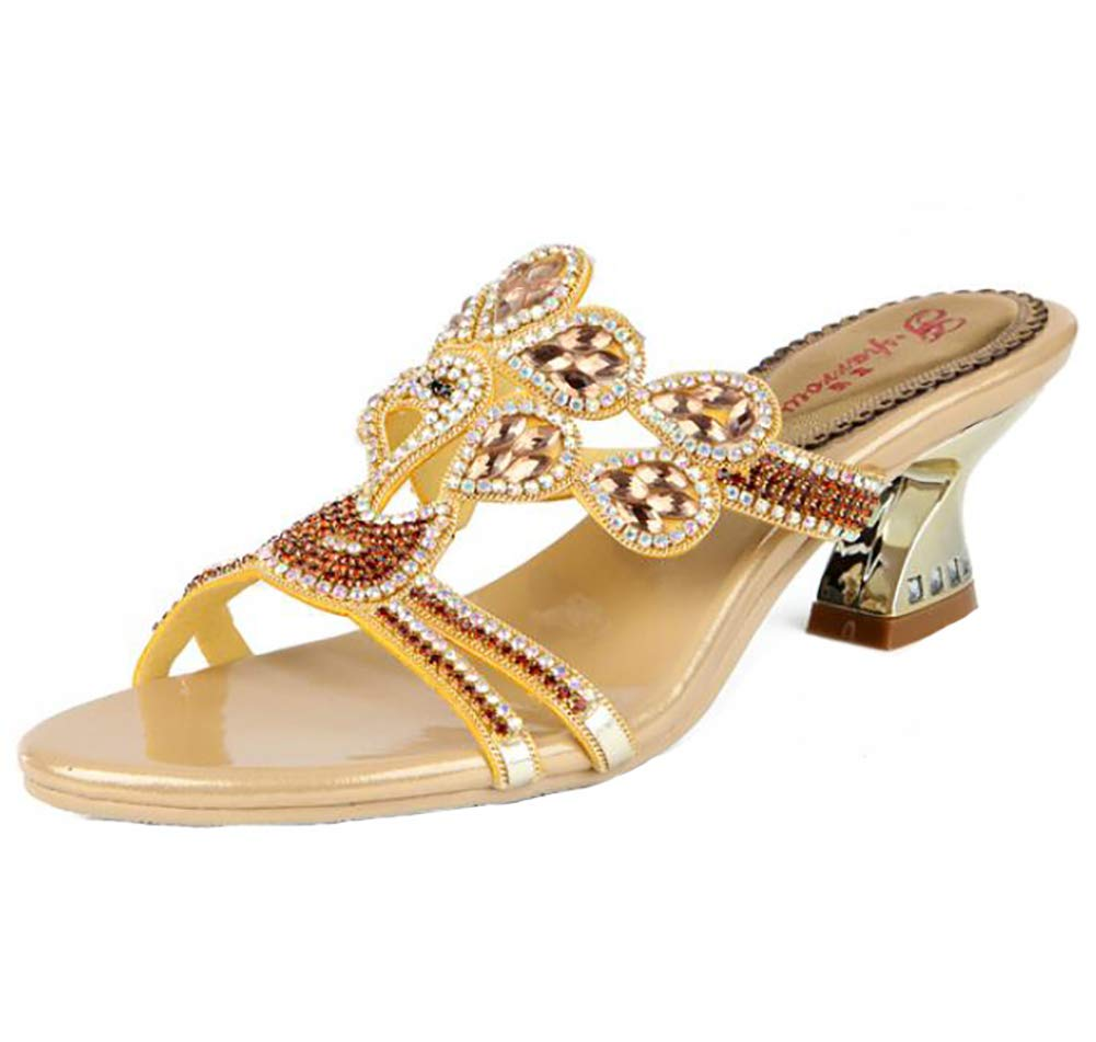 gold Women's Summer Bohemia Peacock Rhinestone Slippers, Fashion Party Casual Sandals Outdoor Cozy Sparkling Elegant Flip Flops