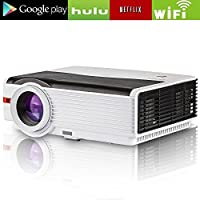 Video Projector Wireless Max 200, 4200 Luminous Efficiency LED LCD Dispaly, Support Full HD 1080p 720p HDMI USB WiFi, Home Cinema Theater Multimedia Smart Projector with Remote Built-in 10W Speaker