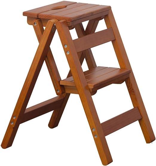 HHSTOOLS Silla de Escalera multifunción de Madera Maciza Silla para el hogar Cocina Escaleras Plegables de Doble Uso Silla móvil Escalera de 2 escalones Taburete Ascendente: Amazon.es: Hogar