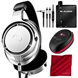 Audio-Technica ATH-SR9 Sound Reality Over-Ear High-Resolution Headphones (Silver) with M-Audio Bass Traveler Headphone Amplifier and Accessory Bundle