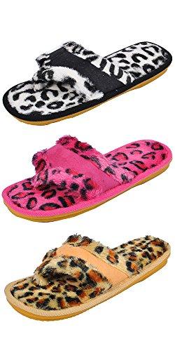 Spring River Women's fluffy flip flop (Medium, Black-Fucshia-Yellow)