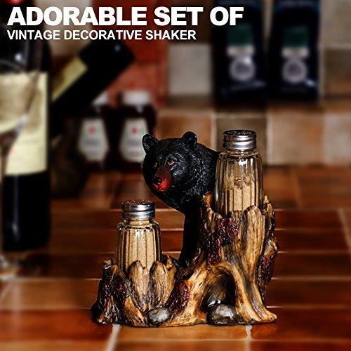 ARAIDECOR Curious Black Bear Salt and Pepper Holder Sculpture Home Décor or Restaurant Setting Statue - 6 x 6 Inches (Black Bear) by ARAIDECOR (Image #3)