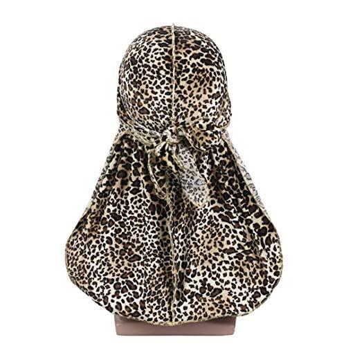 Premium Leopard Print Velvet Durag Waves Extra Long Tail Wigs Men Du-Rag Stitching Outside Turban Headwear original Size fits all