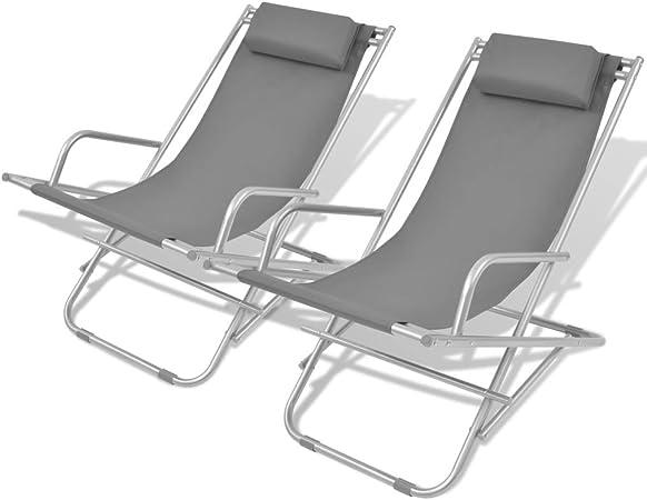 vidaXL 2X Chaises Inclinables de Terrasse Bain de Soleil de Jardin Transat de Patio Chaise Longue de Terrasse Plage Camping Extérieur Acier Gris