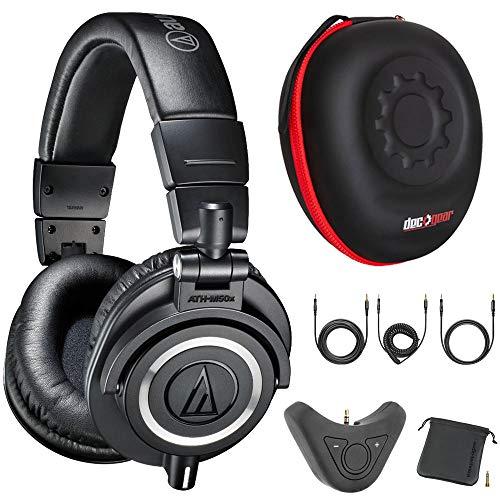 Audio-Technica M50x Professional Studio Monitor Headphones with Bluetooth Adapter and Headphone Case Bundle (Black) - ATH-M50X