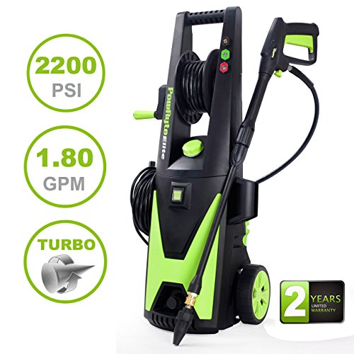 PowRyte Elite 2200 PSI 1.8 GPM Electric Pressure Washer, Power Washer with Hose Reel, Extra Turbo Nozzle, 3 Quick-Connect Spray Tips and Tall Handle (Certified (High Pressure Performance Hose Reel)
