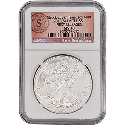 2013 (S) American Silver Eagle $1 MS70 First Releases SF Logo NGC