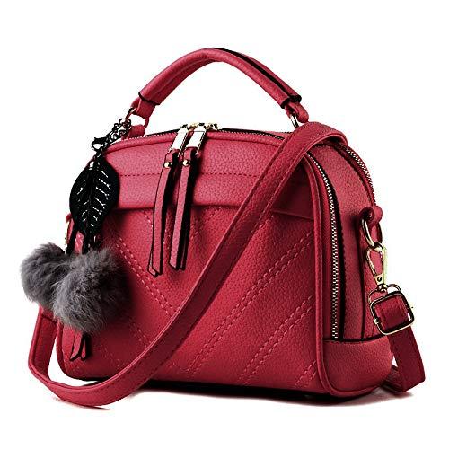 Moda Colgante Red Bolso Peluche Mujer Cuero Ligero Tote De Hombro OvOqHxw7Z