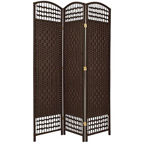 Oriental Furniture 5 1/2 ft. Tall Fiber Weave Room Divider - DarkMocha - 3 Panel