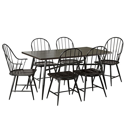 (Target Marketing Systems 7 Piece Mixed Media Windsor Dining Set with 4 Dining Chairs, 2 Arm Chairs, and 1 Dining Table, Espresso/Black)