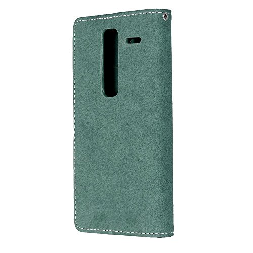 YHUISEN LG H740 Estuche, estilo retro de cuero sólido Premium PU cuero Wallet caso Flip Folio cubierta de la caja de protección con ranura para tarjeta / soporte para LG clase cero H740 ( Color : Rose Green