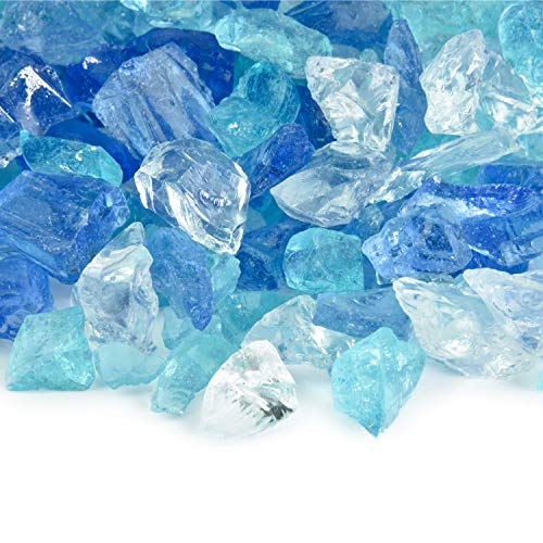 Frosted Rivers - Crushed Fire Glass Blend for Indoor and Outdoor Fire Pits or Fireplaces   10 Pounds   3/8 Inch - 3/4 Inch Color Fireplace Fire Glass