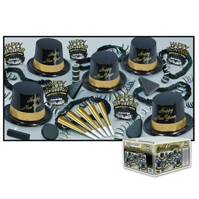 Beistle Gold Legacy New Years Eve Party Kit Assortment for 10