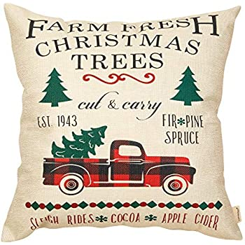 Fahrendom Christmas Farmhouse Home Décor Vintage Red Plaid Truck Sign Decorative Throw Pillow Cover Farm Fresh Christmas Trees Winter Holiday Decoration Cotton Linen Cushion Case Sofa Couch 18 x 18 In