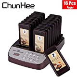 Chunhee Restaurant Pager System Wireless Calling System with 16 pcs Coaster Pager for Cafe Shop Church