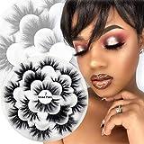 Veleasha 7 Pairs Fluffy Mink Lashes Multipack Handmade Long 3D Eyelashes Dramatic Look False Lashes for Makeup(VS001) /False Eyelashes