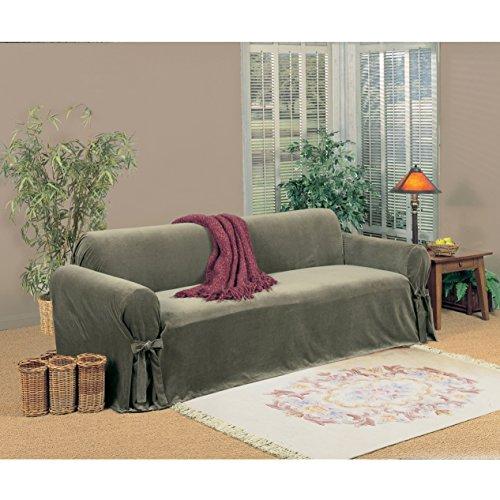 Classic Slipcovers Microfiber Velvet Sofa Slipcover Blue