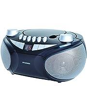 Sylvania SRCD286-SILVER Portable Cassette, CD, AM/FM Radio Boombox with Cassette Player, Silver