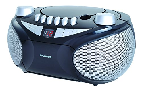 Theresa Music Box - Sylvania Portable Cassette, CD, AM/FM Radio Boombox, with Cassette Player (SRCD286)
