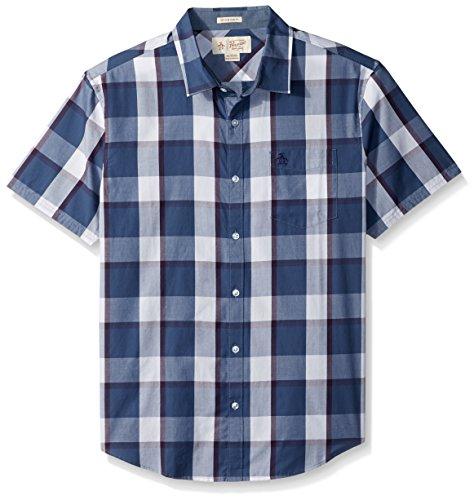 Original Penguin Men's Short Sleeve Shadow Plaid Shirt with Spade Pocket, Vintage Indigo, - Shirt Plaid Shadow
