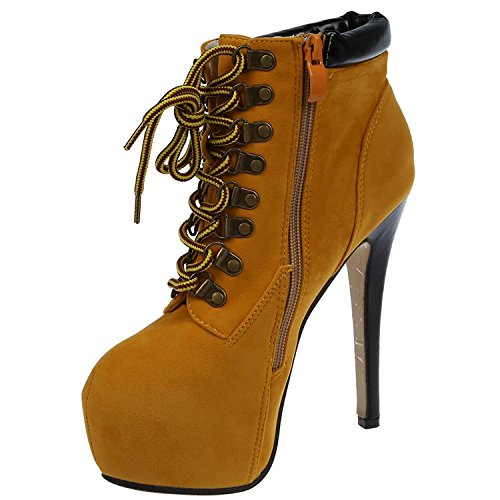 TOOGOO(R) Sexy Women Pointed Toe Stiletto High Heels Lace Up Ankle Boots Shoes Work BootieColors:Brown Sizes:EU 36 NhTWafbFfv