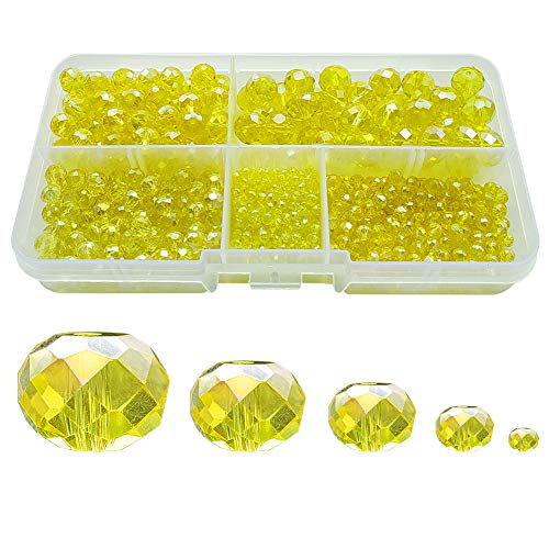 (Chengmu 2-10mm Yellow Rondelle Glass Beads for Jewelry Making AB Colour 710pcs Faceted Briolette Shape Crytal Spacer Beads Assortments Supplies for Bracelet Necklace with Elastic Cord Storage Box)