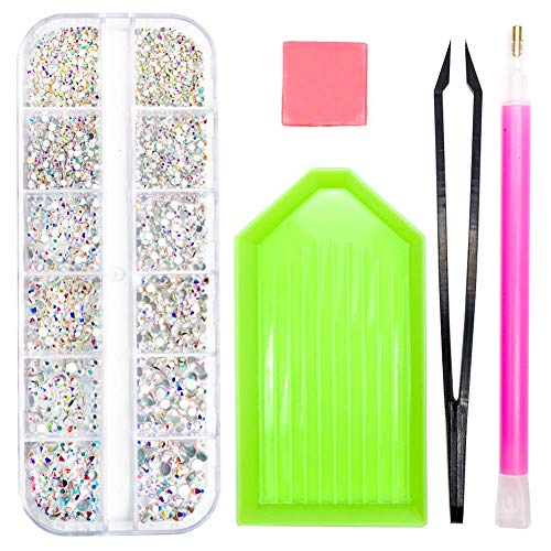 Crystals Glass AB Nail Art Rhinestones, SS4-SS12 Charms Gems Nails Diamonds Stone, 1.5mm-3.5mm Flat Back Round Beads With Storage Organizer Box/Picker Pencil/Glue for Crafts Face Art Clothes Shoes ()