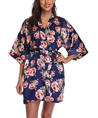 Women's Satin Floral Kimono Robe Short Bridesmaid Bathrobe for Wedding Party,Navy Blue S