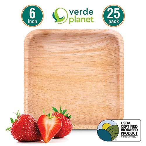 Verde Planet - 6 inch square Palm Leaf Plates - Biodegradable, Ecofriendly, Disposable, Sturdy, Elegant, Premium Quality Plates, USDA Certified - 25 Count (Square Plate 6 Inch)