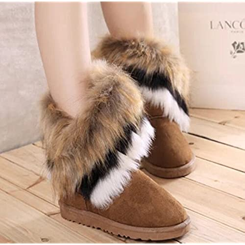 456916dd551c7 Bumud Women Winter Warm High Long Snow Ankle Boots Faux Fox Rabbit ...