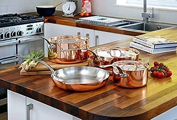 Juego de 4 sartenes de cobre con tapa sartén de saltear ollas francés: Amazon.es: Hogar